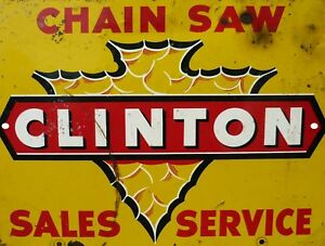 Vintage-Reproduction-Clinton-Chain-Saw-9-034-x-12-034-Metal-Tin-Aluminum-Sign
