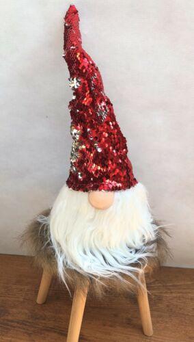 Wichtel mit Pailletten Wendepailletten Weihnachts Deko Silber Rot ca.40cm
