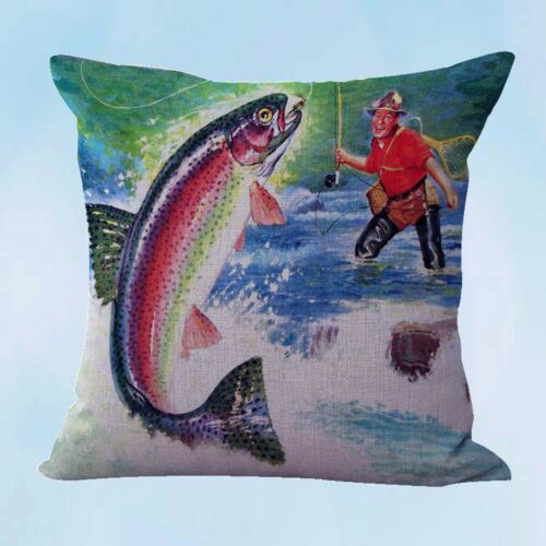 throws and cushions vintage fly fishing cushion cover US Seller
