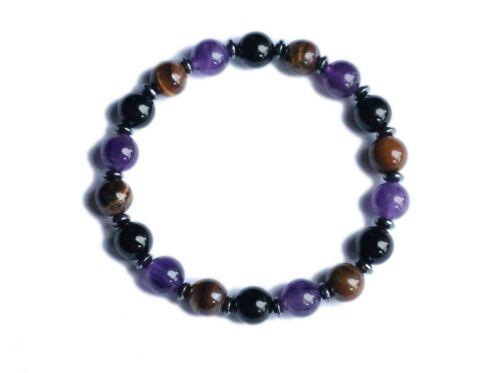 Tiger/'s Eye Patience /& Anger Control Amethyst Tourmaline Empath Bracelet