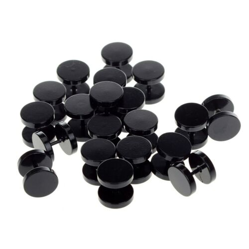 2Pcs Cheater Fake Ear Plug Faker Stud Gold Silver Black Earring Gauges Tapers