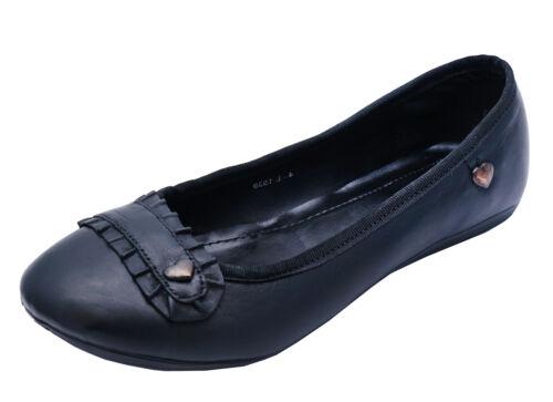LADIES BLACK LEATHER SLIP-ON FLAT BALLET PUMPS COMFY WORK SCHOOL SHOES SIZES 3-8