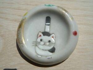 2pcs Cat Neko HASHIOKI japanese chopstick rest Kyo Kiyomizu ware yaki japan
