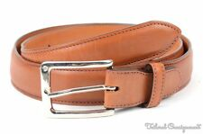EDWARD GREEN Natural Brown Leather Mens Adjustable Luxury Dess Belt w/ Bag - 32""