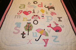 Pottery Barn Kids Pink Animal Alphabet Toddler Crib Quilt