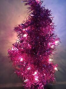 Image Is Loading Pink Christmas Tree 24 Inch Pre Lit Artificial