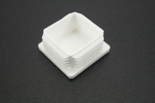 """4 1-1//2/"""" White Square Tubing Plastic End Cap 1.5/""""  4pcs  Post Pipe Tube Plug"""