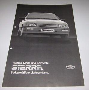 Auto-Prospekt-Katalog-Ford-Sierra-Technik-Masse-und-Gewichte