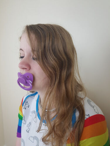 Adult Pacifier Soother Dummy from the dotty diaper company purple with Sparcles