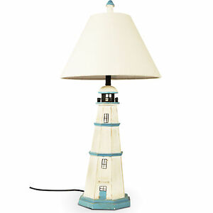 tischleuchte leuchtturm shabby lampenschirm maritim. Black Bedroom Furniture Sets. Home Design Ideas