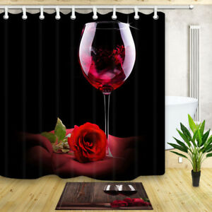 Image Is Loading Red Wine And Rose Bathroom Decor Shower