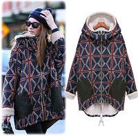 Warm Hooded Zipper Womens Overcoat Long Sleeve Plaids&check Outdoor Thicken Coat