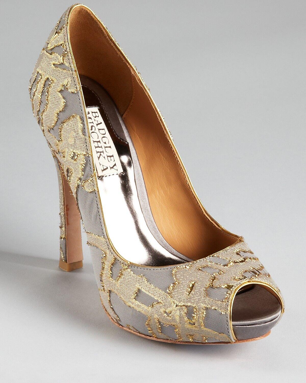 Nuevo En Caja Badgley Mischka Mischka Mischka Roxie noche Tapiz Bomba de punta abierta tacones Zapatos gris oro 7  a precios asequibles