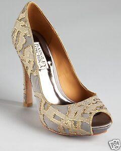 9218fe42994 NIB Badgley Mischka ROXIE evening open toe heels pump tapestry shoes ...