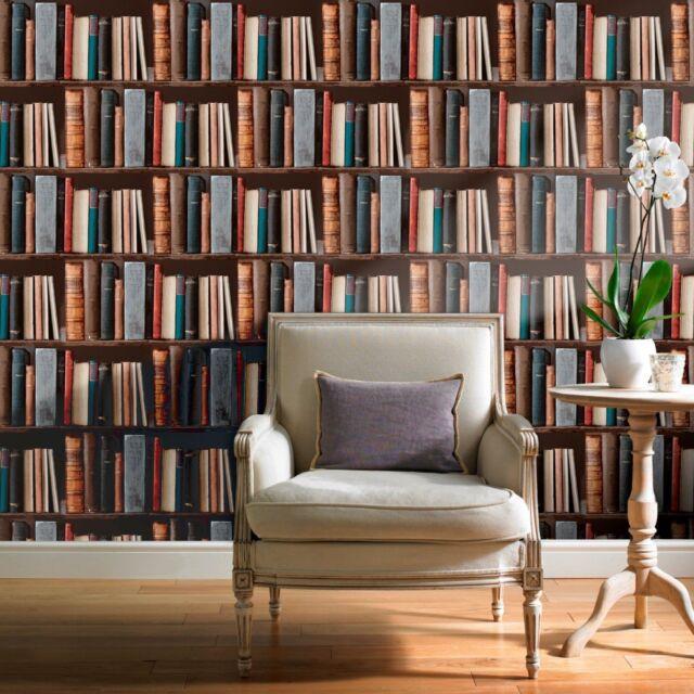 REALISTIC LIBRARY BOOKCASE BOOKS QUALITY DESIGNER FEATURE WALLPAPER POB-33-01-6