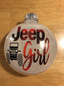 Jeep Girl christmas Ornament  Buffalo Plaid