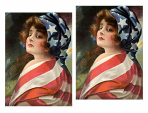Vintage Image Victorian Woman American Lady Liberty Waterslide Decals WOM956