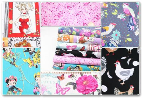 Betty Boop Birds Chicken Music Craft QuiltingFQ 100/% Cotton Fabric All Top End