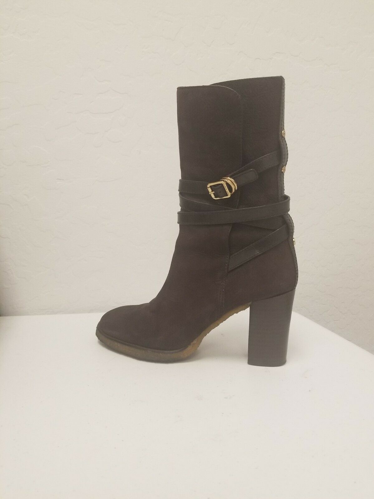 Tory Burch Jamie  Brown Suede Leather High Heel Mid Calf Boots Size 10