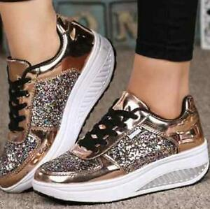 Image is loading Womens-Sequins-Sneakers-Silver-Flat-Glitter-Bling-Casual- 608193eb0