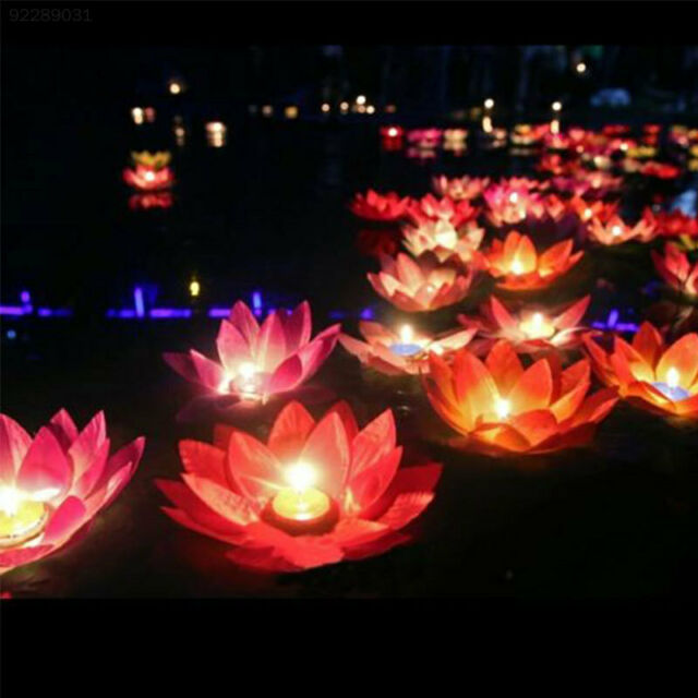 73C0 Silk Lotus Flower Floating Wishing Lamp Candle Light Water Lantern Peach