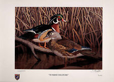 ILLINOIS #22 1996 STATE DUCK STAMP PRINT WOOD DUCKS by Tom Hirata 2 stamps