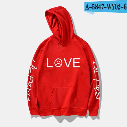 Hip Hop LOVE Hoodie Rapper Sweatshirt Sad Face Pullover Jacket Boy New Top S-4XL
