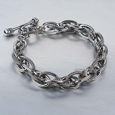 Silver bikies chain stainless steel skull bar bracelet thick heavy solid