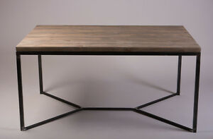 Industrial Style Solid Wooden Metal Dining Table Rustic Reclaimed