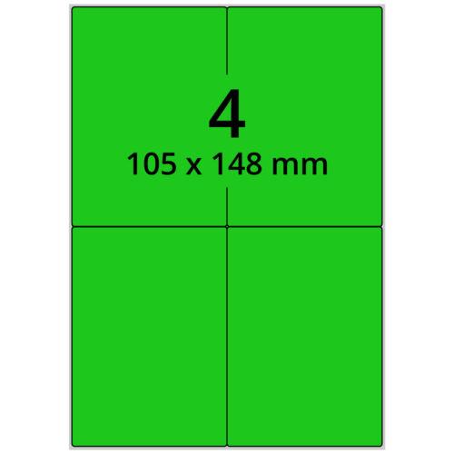 Laseretiketten auf DIN A4 Bogen 400 Papieretiketten grün 105 x 148 mm