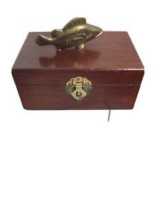 VTG-trinket-box-W-Brass-Trout-Mahogany-Wood-Pre-owned