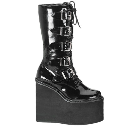 "PLEASER Demonia Swing-220 5 1//2/"" Wedge Platform Cyber Punk 5 Buckle Calf Boot"