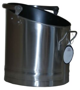 Image is loading Coal-Bucket-Stainless-Steel-Coal-Hod-Holder-Fireside- 51a625d53559