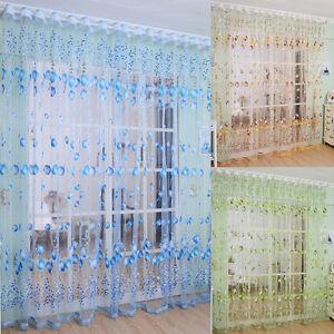 Window-Curtain-Drape-Panel-Sheer-Scarf-Valances-Tulip-Flower-Floral-Tulle-Voile