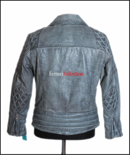 OUTLAW Men/'s Bikers Cowhide Leather Jacket Grey Stone Washed Motorcycle Jacket