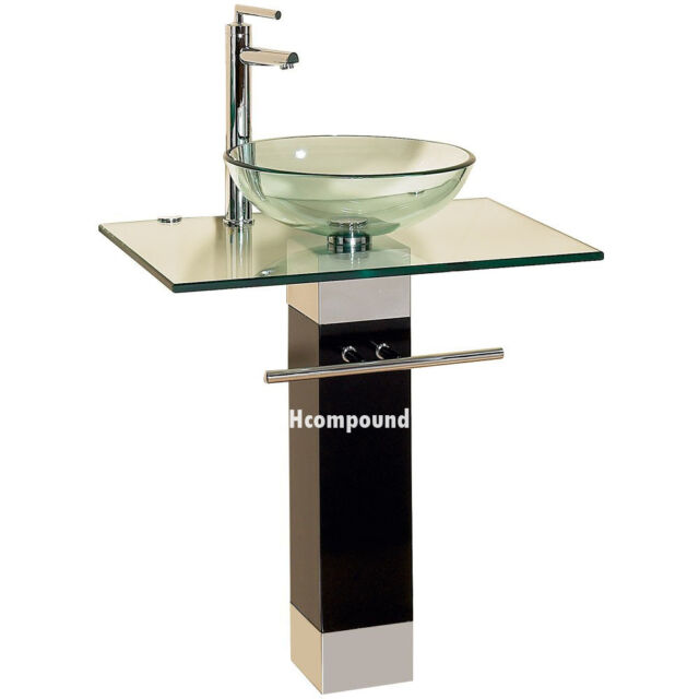 Modern Bathroom Vanities Pedestal Glass Bowl Vessel Sink Combo W