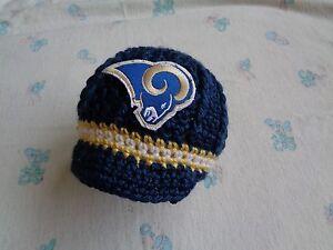 Image is loading Crochet-Los-Angeles-Rams-Baby-Hat 2de28dc255bb