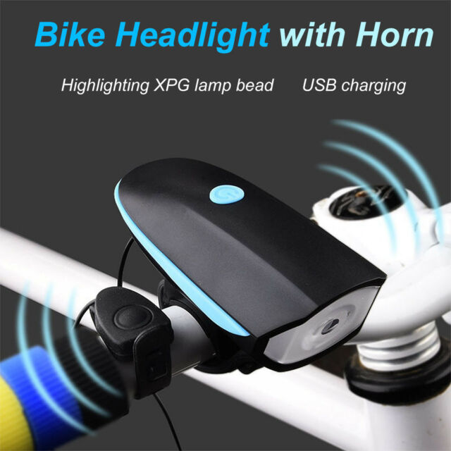 USB Rechargeable LED Bicycle Headlight Bike Lamp Speaker Horn Taillight Bright E