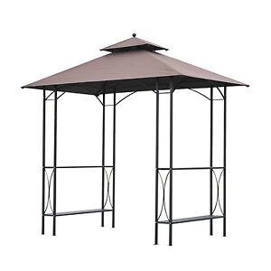 Outsunny 2-Tier BBQ Gazebo Tent Pavilion Grill Canopy Sun Shade w/ Bar Shelves