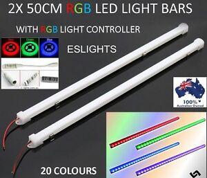 2x 12v rgb flashing colour changing led strip light bars camping 4wd image is loading 2x 12v rgb flashing colour changing led strip aloadofball Gallery