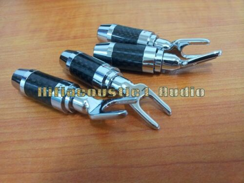 4x usa Speaker Cable Wire Spade Rhodium Plated Carbon Fiber Connector Plug