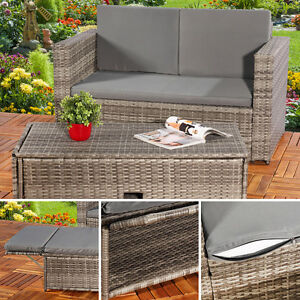 ... Lounge Gartenmoebel Sofa Bank Tisch Klappbar Rattan Gartenset