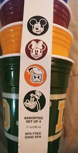 Disney Cups Assorted Set of 4 Mickey Mouse Minnie Mouse Donald Duck Goofy
