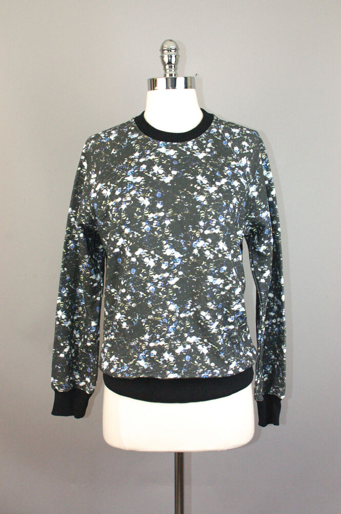 NWT MARKUS LUPFER sequins printed cotton french terry sweatshirt women sz XS