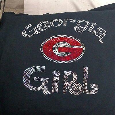 Women/'s Georgia Bulldogs spangle Rhinestone Football V-neck T Shirt Lady