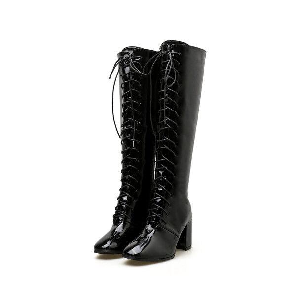 botas botas bikers negro brillante cómodo botas militares mujer mujer mujer 7 cm 1698  producto de calidad