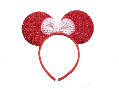 **NEW** RED AND PINK GLITTER SEQUIN MINNIE MOUSE EARS HEN PARTY FANCY DRESS BOW