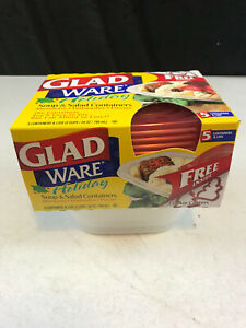 1999 Glad Ware Holiday 5 Soup & Salad Containers Cookie Cutters 3 Cup NOS