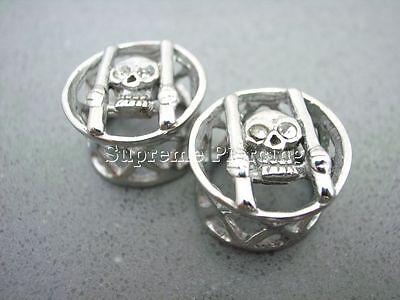 Silver Steel Clear Crystal 3D Punk Prisoner Skull Double Flare Saddle Ear Plugs