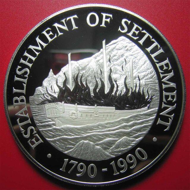 1990 PITCAIRN ISLANDS $50 PROOF 5oz SILVER BOUNTY SAILING SHIP SETTLEMENT 65mm